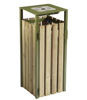 Corbeille urbaine avec cendrier en bois
