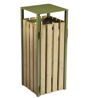 Corbeille urbaine sans cendrier en bois