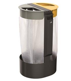 Support sac poubelle sur pied 2x75 Litres avec cendrier