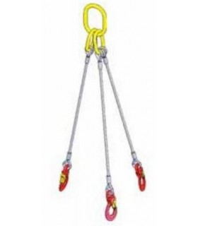 Elingue câble 3 brins avec 1 anneau de tête et 3 crochets à oeil à linguet