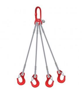 Elingue câble 4 brins avec 1 anneau de tête et 4 crochets à oeil à linguet
