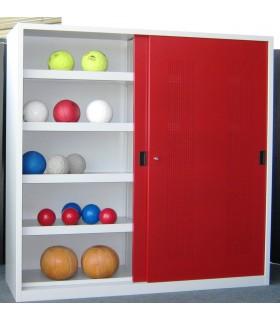 Armoire à ballons avec portes coulissantes ajourées
