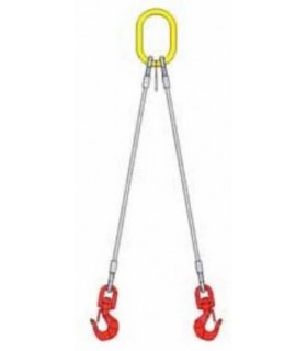Elingue câble 2 brins avec 1 anneau de tête et 2 crochets à émerillon à linguet
