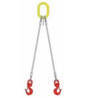 Elingue câble 2 brins avec 1 anneau de tête et 2 crochets à oeil à verrouillage automatique