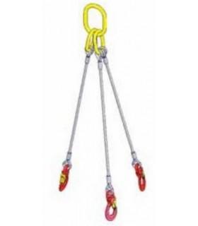 Elingue câble 3 brins avec 1 anneau de tête et 3 crochets à émerillon à verrouillage automatique