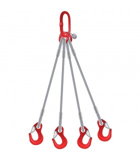 Elingue câble 4 brins avec 1 anneau de tête et 4 crochets à émerillon à verrouillage automatique