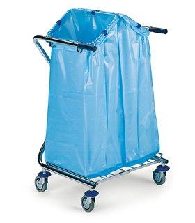 Porte sac poubelle mobile pliable à 2 sacs