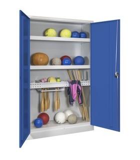 Armoire de sport a portes battantes coloris gris-bleu