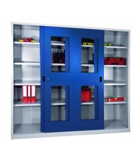 Armoire haute portes coulissantes vitrées