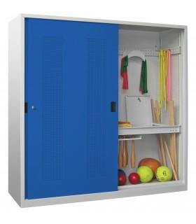 Armoire de sport portes coulissantes coloris gris-bleu