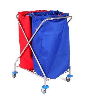 Porte sac mobile inox pour déchet papier