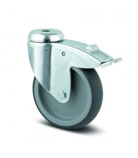 Roulette pivotante acier à oeil avec blocage en caoutchouc thermoplastique