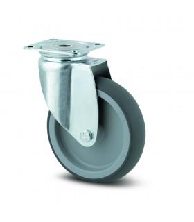 Roulette pivotante acier à platine en caoutchouc thermoplastique