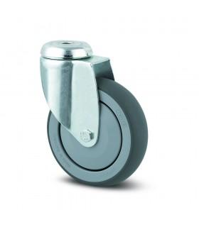 Roulette pivotante acier à oeil en caoutchouc thermoplastique