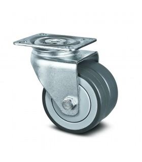Roulette pivotante double galet robuste à platine en caoutchouc thermoplastique