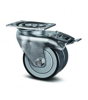 Roulette pivotante double galet robuste à platine avec blocage en caoutchouc thermoplastique