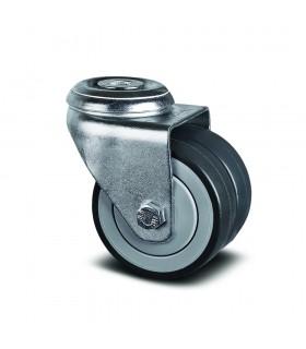 Roulette pivotante double galet robuste à oeil en caoutchouc thermoplastique