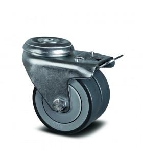 Roulette pivotante double galet robuste à oeil avec blocage en caoutchouc thermoplastique