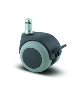 Roulette pivotante polypropylène à tige avec frein bandage caoutchouc thermoplastique