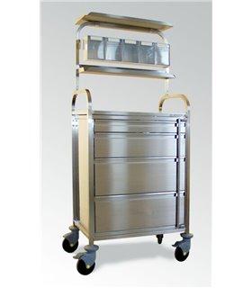 Chariot d'anesthésie inox