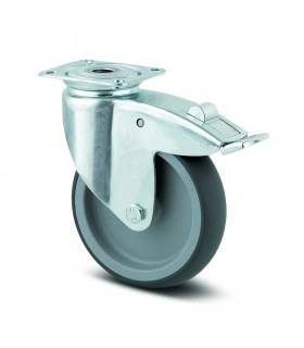 Roulette pivotante acier à platine avec blocage en caoutchouc thermoplastique