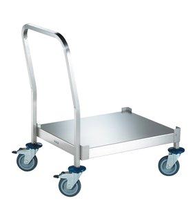 Chariot inox de transport de paniers à couverts
