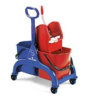 Chariot de lavage 2 seaux à timon latéral