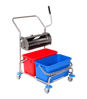Chariot de lavage inox avec presse à plat inox