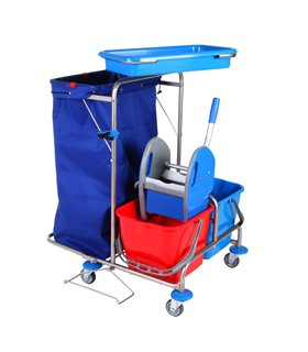 Chariot de ménage inox compact