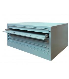 Meuble à plans horizontal à façade rabattable