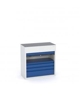 Armoire à tiroirs basse avec rideau vertical