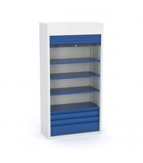 Armoire haute à tiroirs avec rideau vertical