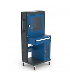 Armoire informatique mobile à porte vitrée