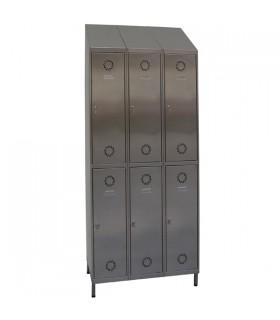 Vestiaire inox bi-places sur pieds 3 colonnes