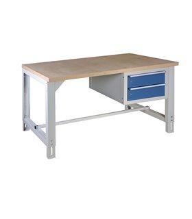 Table-établi réglable en hauteur avec 2 tiroirs