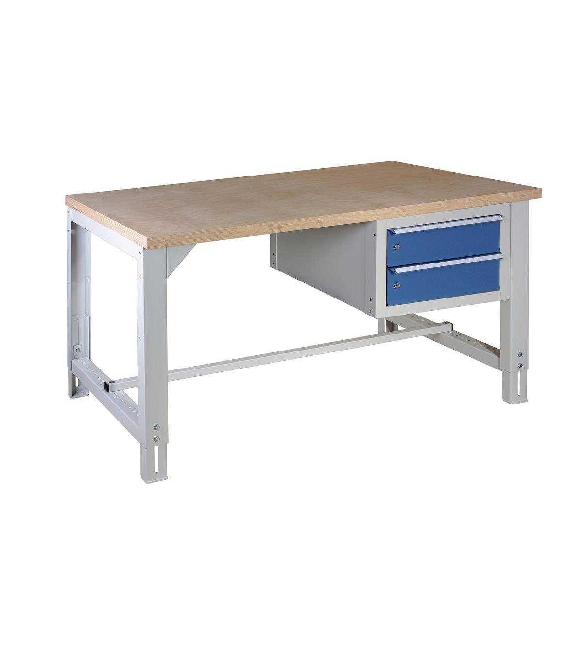 Table tabli r glable en hauteur avec 2 tiroirs - Table de travail reglable en hauteur ...
