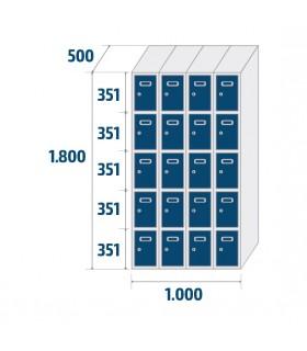 Armoire casier 4 colonnes 5 cases L250mm à monter