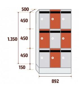 Armoire consigne courrier 3 colonnes 3 cases