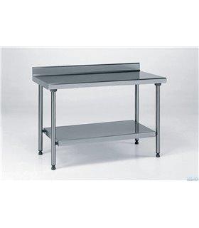 Table inox avec dosseret et étagère basse